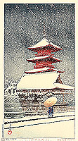 Snow at Ueno Toshogu Shrine - Kawase Hasui - 1883-1957