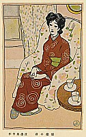 Yohei Watanabe fl. ca. 1910-30 - In Front of a Fire Place