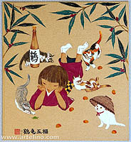 Yuko Iidaka fl.ca. 1990-present - Cats of Five Happiness