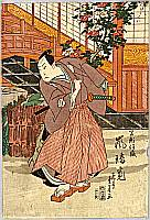 Shigeharu Ryusai 1803-1853 - Kabuki actor and Camellia