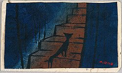 Tadashige Ono 1909-1990 - Alley Cat on Dark Stairs