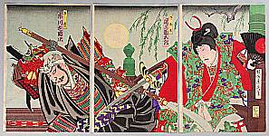 Chikanobu Toyohara 1838-1912 - Battle of Gojo Bridge - Benkei and Ushiwaka
