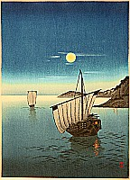 Two Boats in Moonlight - By Yoshimune Arai