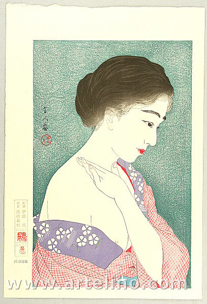Applying Powder - Twelve Aspects of Women - By Kotondo Torii 1900-1976