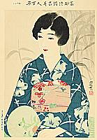 Shinsui Ito 1898-1972 - One Hundred Beauties in Takasago-zome Light Kimono - Beauty and Round Fan -
