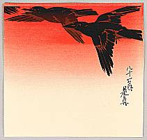 Zeshin Shibata 1807-1891 - Crows in Flight at Sunrise