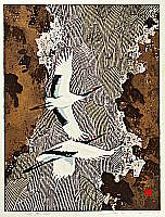 Souho Ikegami born 1940 - Flying Cranes over Mountain Stream