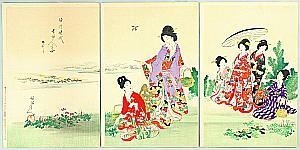 Chikanobu Toyohara 1838-1912 - Court Ladies in Tokugawa Era - Gathering Spring Herbs