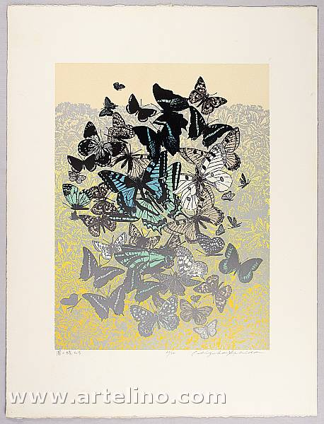 Chizuko Yoshida born 1924 - Butterflies in Garden