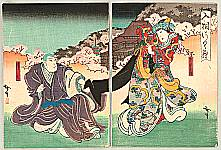 Hirosada Utagawa active ca. 1820-1860 - Kabuki Scene - Princess and Priest
