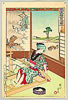 Chikanobu Toyohara 1838-1912 - 24 Paragons of Filial Piety - Weaver