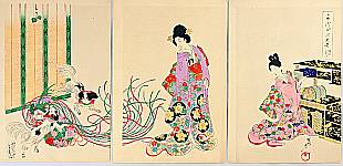 Chikanobu Toyohara 1838-1912 - The Ladies of Chiyoda Palace - Pug's Play