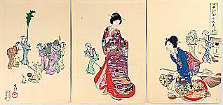 Chikanobu Toyohara 1838-1912 - The Ladies of Chiyoda Palace - House Cleaning