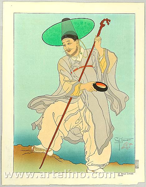 Paul Jacoulet 1902-1960 - Wandering Buddhist Priest - Le Bonze Errant Core