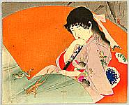 Eisen Tomioka 1864-1905 - Beauty and Frogs - kuchi-e