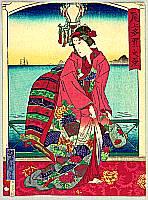 Nagasaki Geisha - By Yoshitaki Utagawa 1841-1899