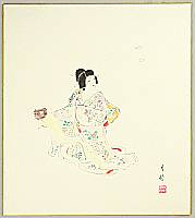 Gekko Ohashi 1895-? - Court Lady Yayoi and Butterflies - Kabuki