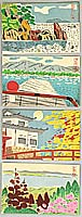 Hideo Nishiyama 1911-1989 - Four Post Card Size Prints no.2- Ohmi Hakkei