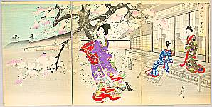 Chikanobu Toyohara 1838-1912 - Evening Cherry Blossoms - Ladies of Chiyoda Palace