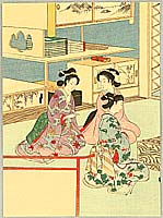 Eisen Tomioka 1864-1905 - Three Beauties in Go-game