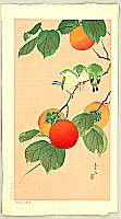 Soseki Komori active 1920s-1930s - Birds on Persimmons