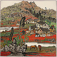 Li Ping born 1963 - Series of Red Land - The Village Beside the Stone Forest No.2