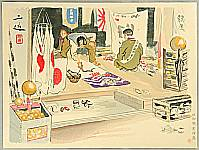 Sanzo Wada 1883-1968 - Flag Merchants - Sketches of Occupations in Showa Era