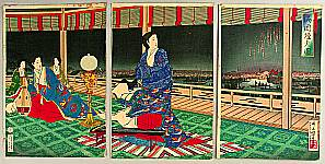 Yasuji Inoue 1864-1889 - Fireworks at Ryogoku