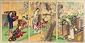 Chikanobu Toyohara 1838-1912 - Beauty and Cherry Blossoms