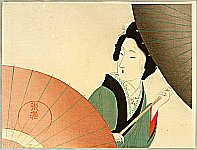 Eisen Tomioka 1864-1905 - Beauty and Umbrella