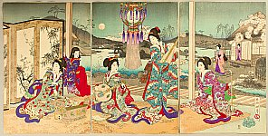Shogetsu Kojima active 1880-1890 - Music in the Evening