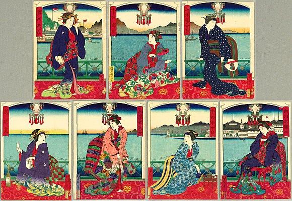 Seven Geisha in Nagasaki - By Yoshitaki Utagawa 1841-1899