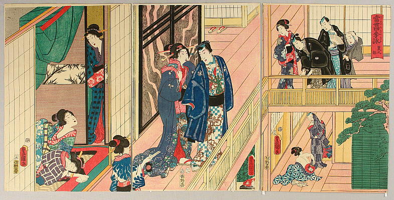 Prince Genji in Summer - The View of Four Seasons in Modern Times - Kunisada - 1786-1865