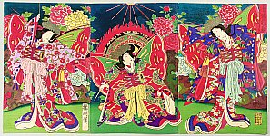 Chikanobu Toyohara 1838-1912 - Butterfly Dancers