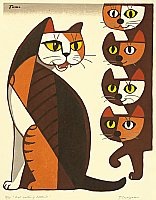 Cat Calling Kittens - Tomoo Inagaki - 1902-1980