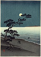 Yoshimune Arai 1873-1945 - Suma Beach at Night