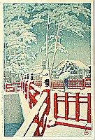Snow at Yakumo Bridge - Kawase Hasui - 1883-1957