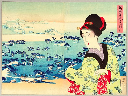 Picture of Beautiful Women in Famous Places - matsushima - Chikanobu Toyohara