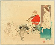 Hanko Kajita 1870-1917 - kuchi-e:  Violin Player and Dancing Animals