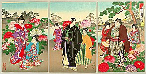Chikanobu Toyohara 1838-1912 - Customs and Manners of Edo 12 Months - Ladies, Samurai and Sumo Wrestler