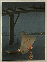 Fishing Boat - Night Scene Series - By Yoshimune Arai