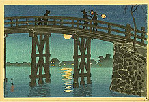 Hiroaki Takahashi 1871-1945 - Bridge and Moon