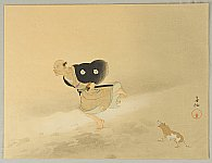 Bokusen Shimada 1868 - 1943 - Gishi Taikan - Hosoi Kotoku and Barking Dog