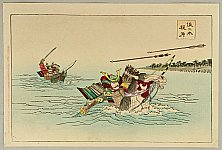 Chikanobu Toyohara 1838-1912 - The Tale of Heike - Horse Race in Water