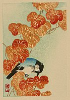 Sozan Ito 1884-? - Blue Bird and Autumn Leaves