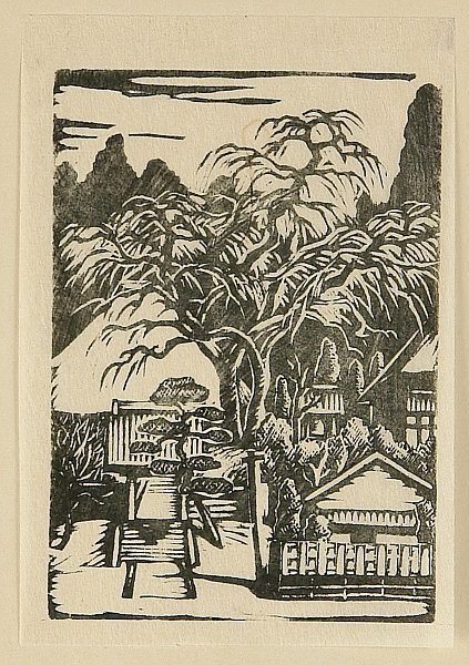 Shingo Ikeda 1893-1975 - Prints of Village - Temple with a Famous Tree