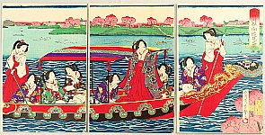 Chikashige Morikawa active ca. 1869-82 - Meiji Empress on Sumida River