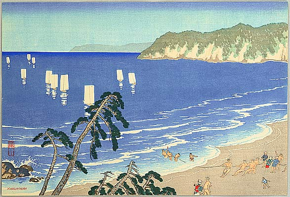 Yoshio (Raizan) Kawatsura 1880-1963 - On the Beach