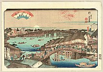 Eisen Ikeda 1790-1848 - 8 Scenic Views of Edo - Sunset at Ryogoku Bridge