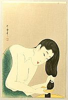 Utamaro Kitagawa 1750-1806 - Ten Examples of  Study of Women's Faces - Washing Hair